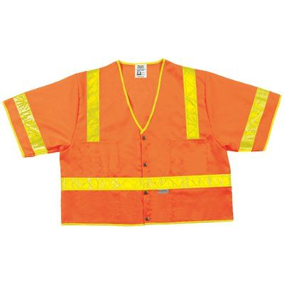 Lum. Class Iii Poly Fluorescent Safety Vest Orng