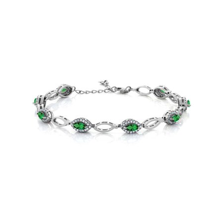 3.26 Ct Marquise Green Simulated Emerald 925 Sterling Silver Bracelet](Bracelet Light)