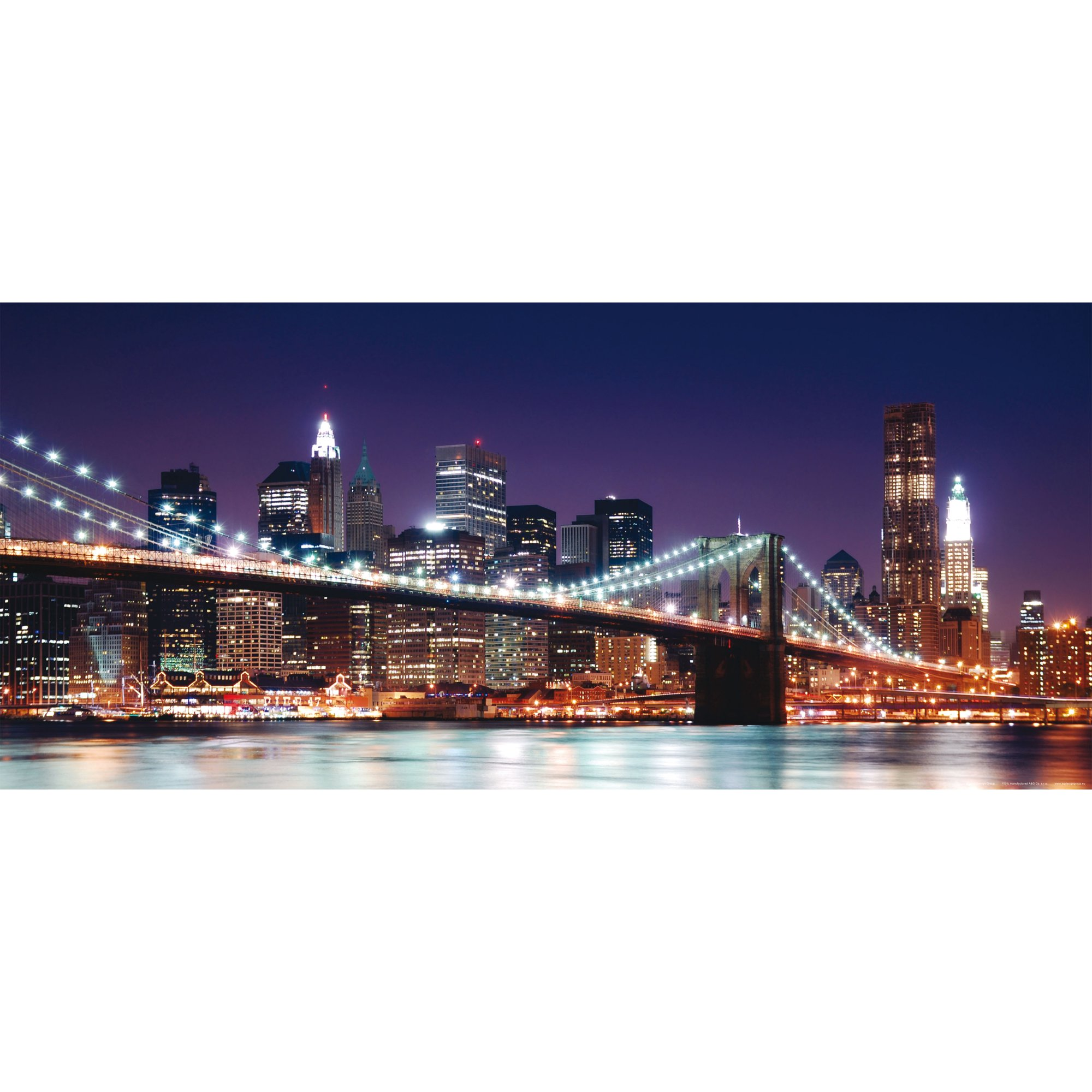 Brooklyn Bridge New York City Manhattan Skyline At Night Wall