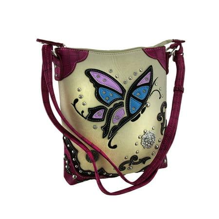 Zeckos - Floating Butterfly Rhinestone Flower Western Trim Crossbody Handbag (Pink) - Pink - Size Small