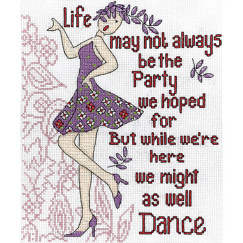 "Dance Party Counted Cross Stitch Kit, 8"" x 10"", 14-Count"