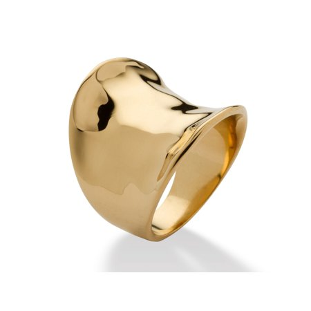 Concave Cigar Band Ring 18k Gold Plated Amber Gold Plated Ring