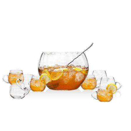 10-piece Crystal Chill Punch / Sangria Bowl Set - Frozen Center Pieces