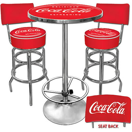 Trademark Coca-Cola Pub Table and 2 Stools With Back Set ()