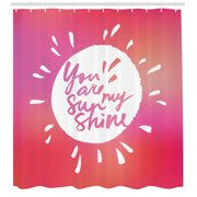 Quotes Decor Shower Curtain, Vibrant Sunshine Form with Blury Handwritten Saying You and Me Graphic Image, Fabric Bathroom Set with Hooks, 69W X 70L Inches, Maroon White, by Ambesonne