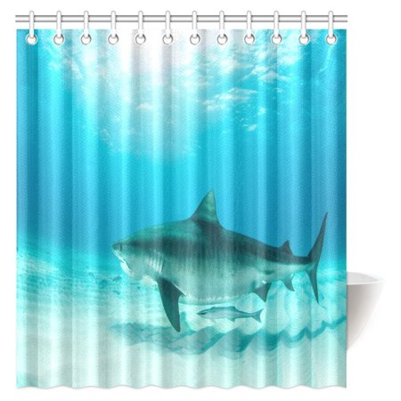 MYPOP Sea Animal Decor Shower Curtain, Tiger Shark Diving on the Bottom of Water Danger Icon Wild Life Jaws Symbol Bathroom Shower Curtain with Hooks, 66 X 72 Inches