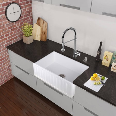 Vigo All In One 33 Matte Stone Farmhouse Kitchen Sink And Edison Stainless