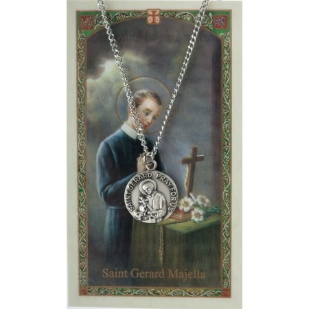Pewter Saint St Gerard Majella Medal with Laminated Holy Card, 3/4 Inch