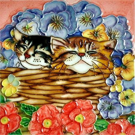 En Vogue H-34 6 x 6 in. Flower Basket Cat, Decorative Ceramic Art Tile