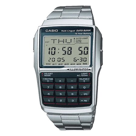 Casio DBC32D-1A Men's Stainless Steel Band 25 Page Databank Calculator (Casio Databank Calculator Watch)
