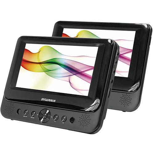 """Sylvania 7"""" Dual Screen Portable DVD Player, SDVD8738"""