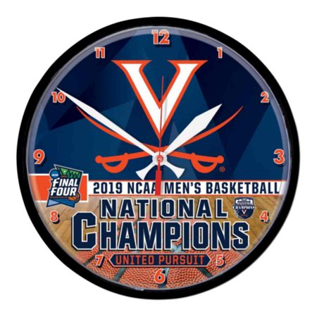 Glass Ncaa Clock - Virginia Cavaliers 2019 NCAA Basketball National Champions Round Wall Clock