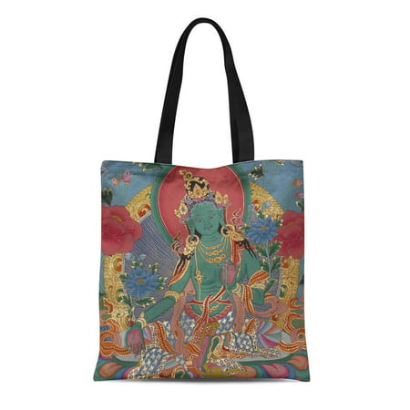 - LADDKE Canvas Tote Bag Tibetan Green Tara Thanka Spiritual Yoga Meditation Nepal Reusable Handbag Shoulder Grocery Shopping Bags