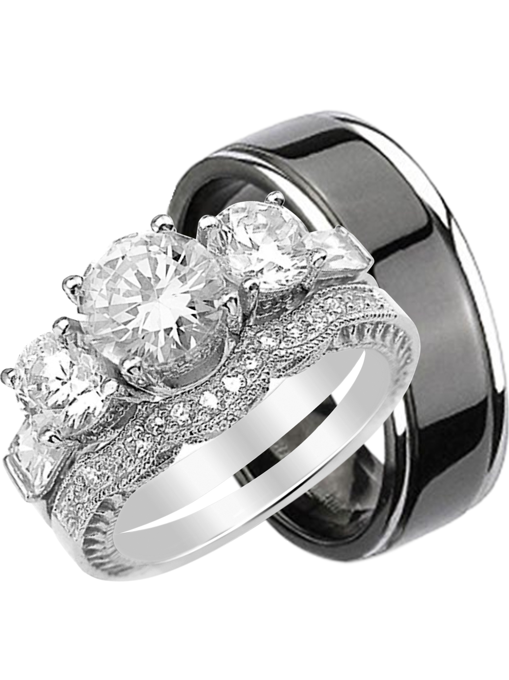 This is a picture of LaRaso & Co - His and Hers 33 Piece Trio Sterling Silver Black Titanium Wedding Band Engagement Ring Set - Walmart.com