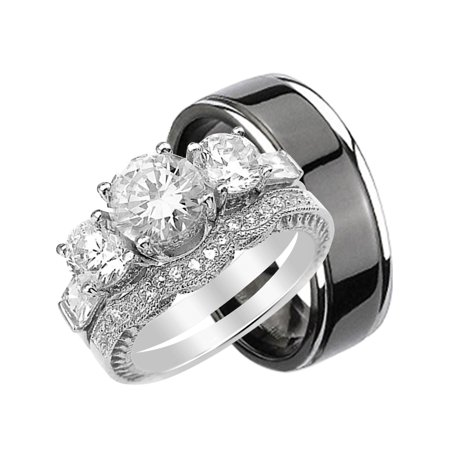 His and Hers 3 Piece Trio Sterling Silver Black Titanium Wedding Band Engagement Ring Set ()