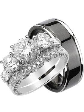 f798c71f6 Product Image His and Hers 3 Piece Trio Sterling Silver Black Titanium  Wedding Band Engagement Ring Set