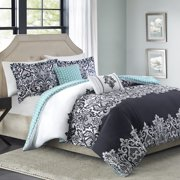 Better Homes and Gardens Damask 5-Piece Bedding Comforter Set, Black