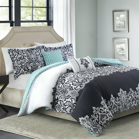 Better Homes & Gardens Full or Queen Damask Black Comforter Set, 5