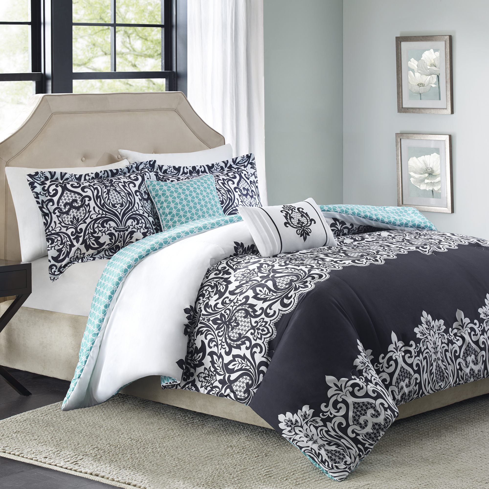 Better Homes & Gardens Full or Queen Damask Black Comforter Set, 5 Piece