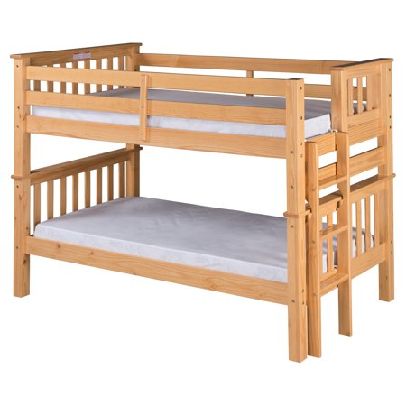 Santa Fe Mission Low Bunk Bed Twin over Twin - Bed End Ladder - Multiple Finishes - with Twin Size Under Bed Trundle