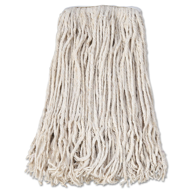 Banded Cotton Mop Head, #24, White, 12 carton by Boardwalk Paper