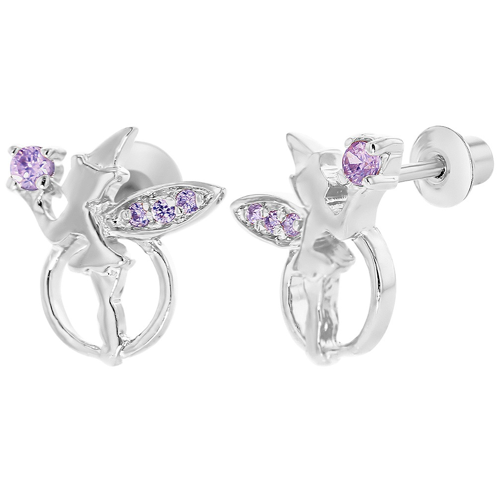 Rhodium Plated Purple Crystal Fairy Magic Screw Back Stud Girls Earrings - image 4 de 4