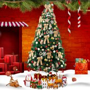 Jaxpety 6Ft Christmas Tree Artificial Unlit Premium Pine Hinged Tree with Stand Holiday Festival Decor Indoor & Outdoor