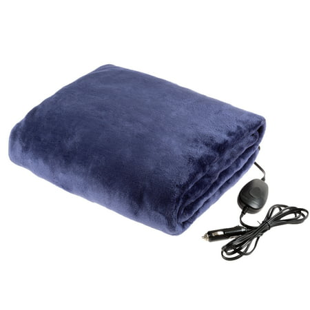 Electric Car Blanket-Outdoor Heated 12V Travel Throw by Stalwart-(Blue)