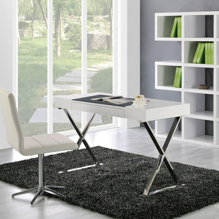 Best Master Furniture's High Gloss Computer Desk with Faux Leather Work