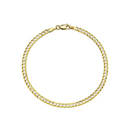 14 KARAT TWO-TONE SLASH DIAMOND-CUT SOLID CURB 3.65 MM WIDE CHAIN WITH LOBSTER CLASP IN 8.50 INCHES LONG BRACELET