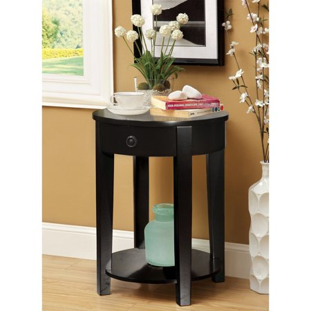 Furniture Of America Round Side Accent Table With Storage Drawer