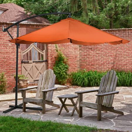 Patio Umbrella Cantilever Hanging Outdoor Shade Easy Crank And Base For Table Deck Balcony Porch Backyard 10 Foot By Pure Garden Orange