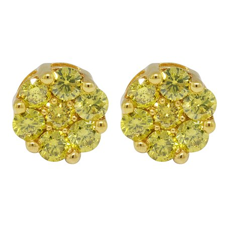 10k Yellow Gold Irradiated Canary Real Diamond Stud Earrings 2 5 Ct