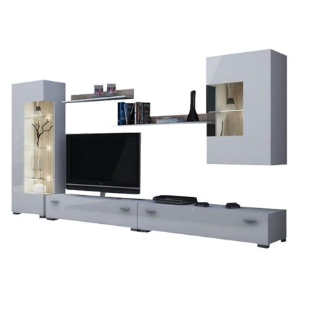 Hamburg Entertainment Center Wall Unit With Led Lights 70 Tv Stand White