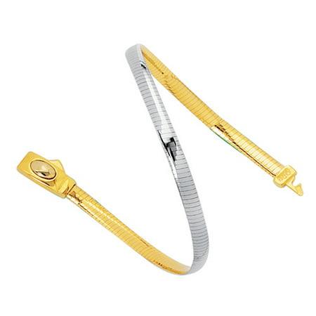 """14k Yellow & White Gold 4 mm Reversible Omega Bracelet - 7"""" 8"""""""