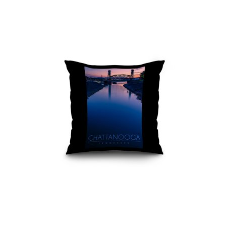 Chattanooga, Tennessee - Dusk on Chickamauga Lake - Lantern Press Photography (16x16 Spun Polyester Pillow, Black Border)