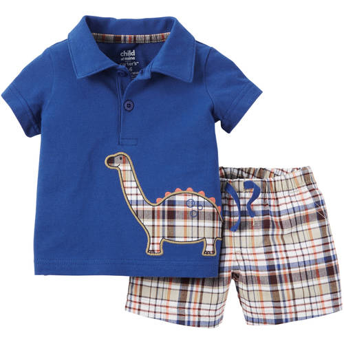 Child of Mine made by Carter's Newborn Baby Boy Top and Short Outfit Set 2 Pieces