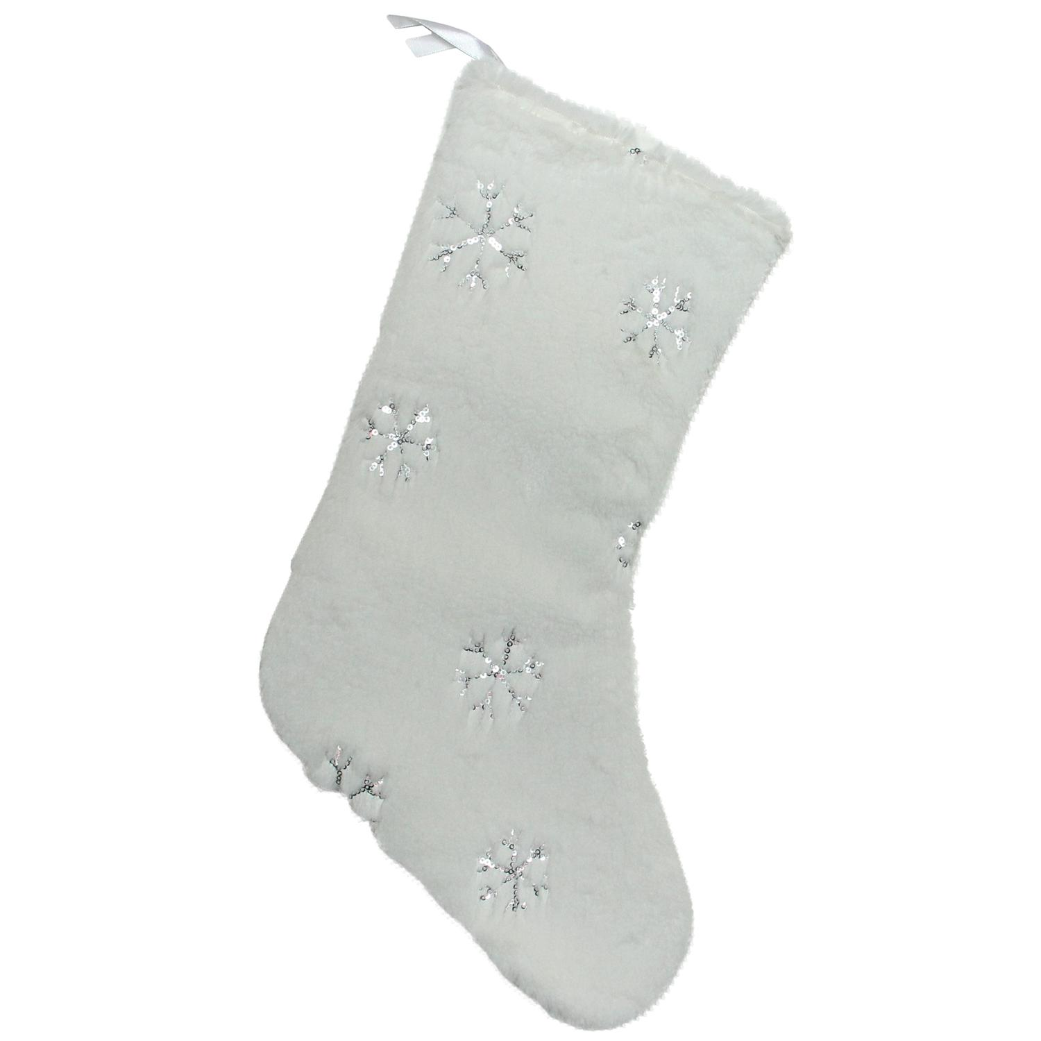 """18"""" White Faux Fur Christmas Stocking with Silver Sequined Snowflakes - image 2 de 2"""