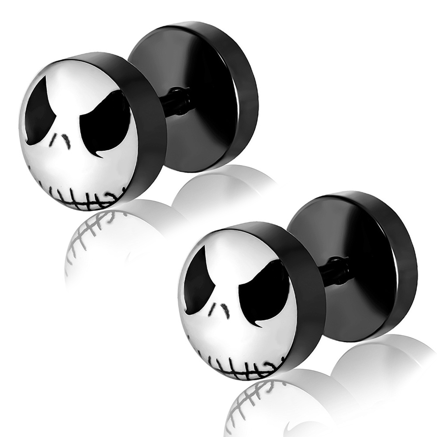 Black Stainless Steel Two-Tone Jack Skellington Mask Circle Faux Fake Cheater Ear Plugs Gauge, Pair