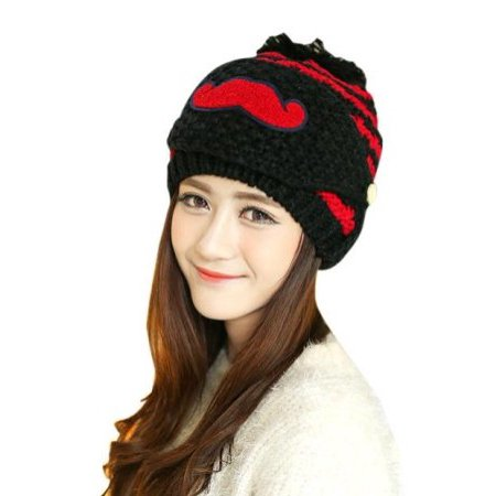 Women Knitted Crochet Beanie Hat Beard Face Mask Set with Pompom, 10 Colors
