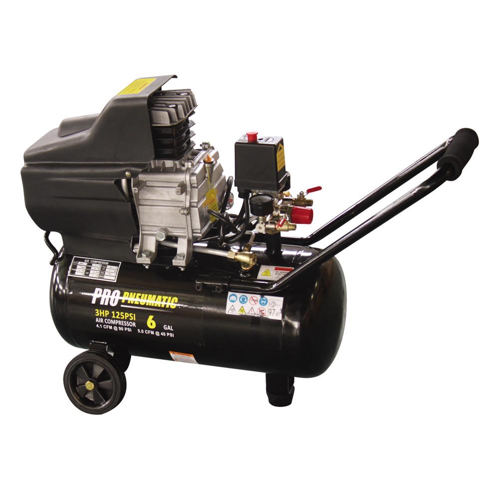 3 HP 6 Gal Horizontal Air Compressor Oil-Lubricated