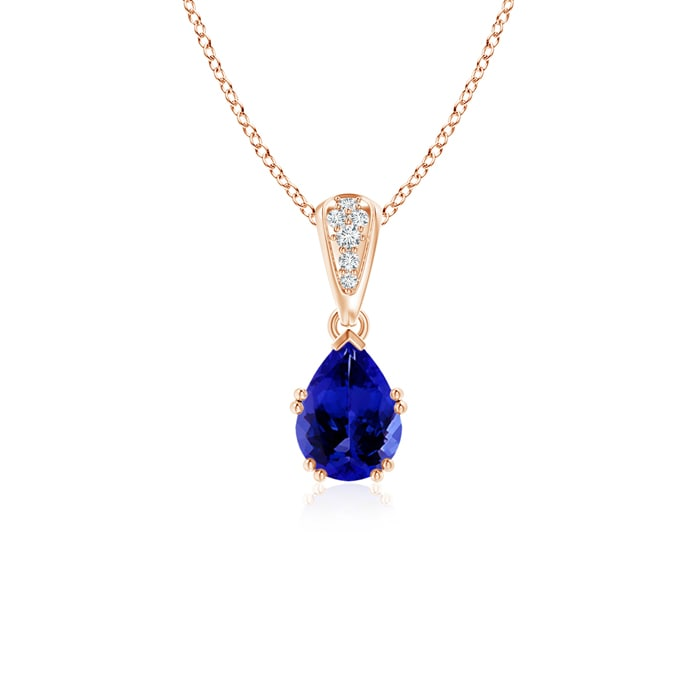 """0.65 carat Pear Cut Prongs Set Tanzanite Pendant Necklace With Accent Diamonds in 14K Rose Gold, 18"""" Inches,... by Angara.com"""