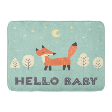 KDAGR Green Baby Cute Fox Text Hello Woodland Forest Kids Wild Doormat Floor Rug Bath Mat 23.6x15.7 inch - Woodland Fox