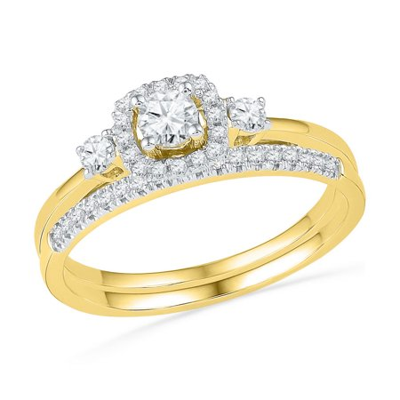 10K Yellow Gold Round Diamond Solitaire Halo Bridal Wedding Engagement Ring Band Set 1 2 Cttw