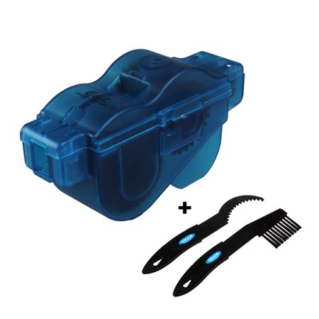 BIKEIN PRO 3pcs Portable Bicycle Chain Cleaner with Two Plastic Brushes and Handle Blue Plastic Box Bike Cleaning Wash Accessories - Pro Gold Bike Wash