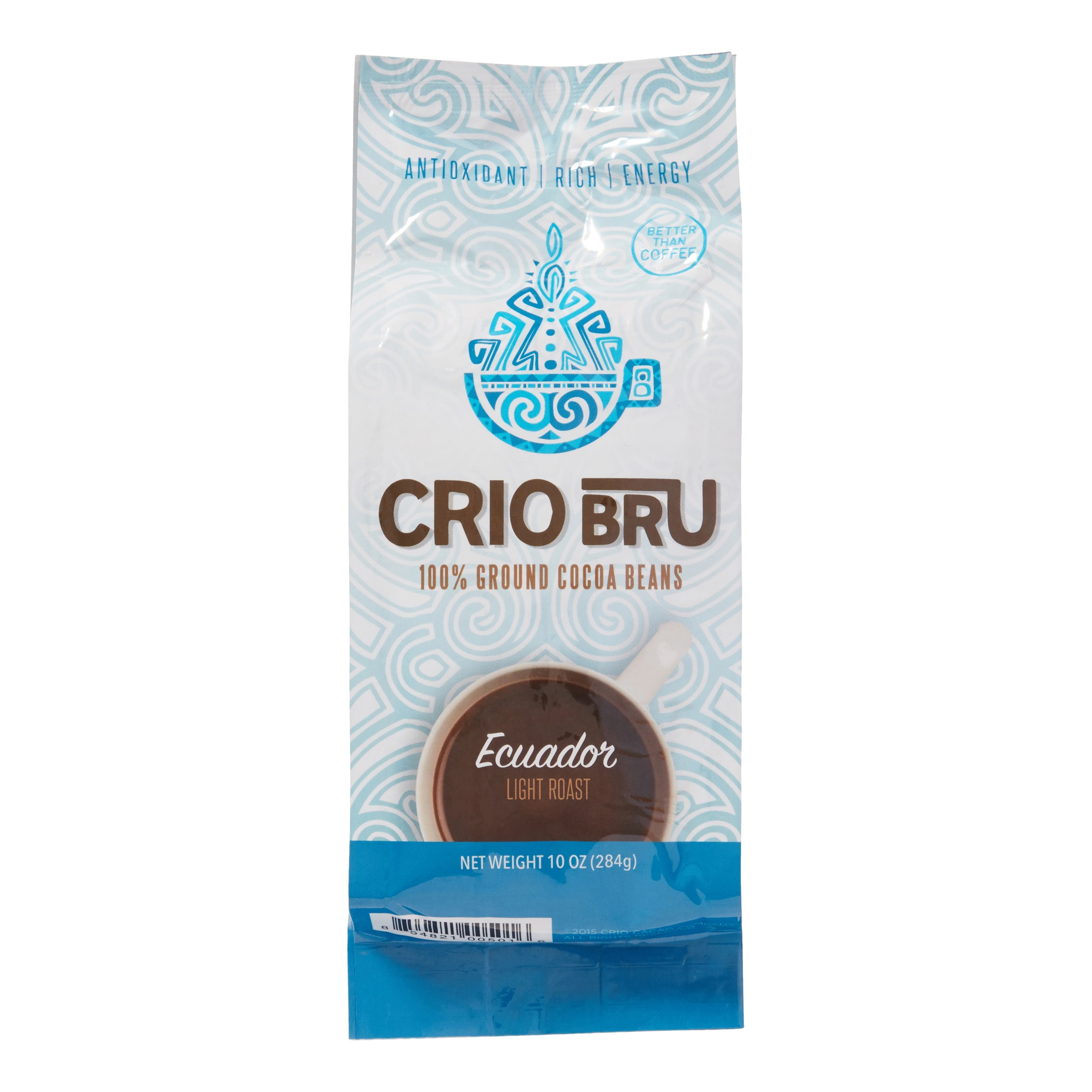 Crio Bru Light Roast Ground Cocoa Beans, Ecuador, 10 Oz, 1 Ct