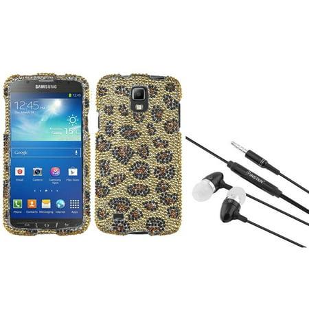Insten Camel Leopard Diamond Hard Case+Pink Headset For Samsung Galaxy S4 Active i537