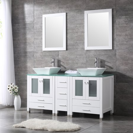 60'' Double Bathroom Vanity Combo Set Double Porcelain Vessel Sink Solid Wood Cabinet Glass Top w/ Mirror Faucet