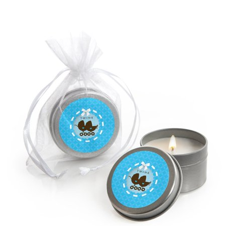 Twin Boy Baby Carriages - Twins Baby Shower Candle Tin Party Favors (Set of 12)