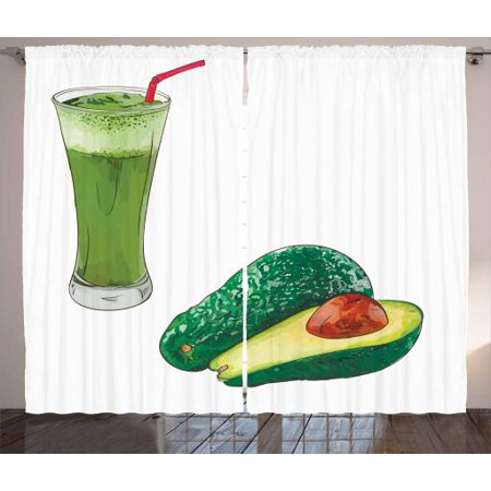 Avocado Curtains 2 Panels Set, Vintage Style Healthy Fresh Avocado Juice for Diet and Slices of Fruit Illustration, Window Drapes for Living Room Bedroom, 108W X 63L Inches, Multicolor, by
